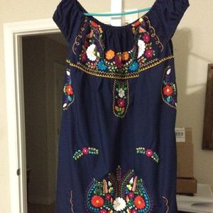 Mexican Navy Dress Embroidered Bright Colors Large